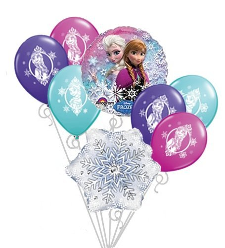 Frozen Balloons Disney Anna & Elsa Happy Birthday Balloon Bouquet Set 8pc - 1
