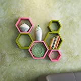 DecorNation Wall Shelf Rack Set Of 6 Hexagon Shape Storage Wall Shelves For Home - Green & Pink