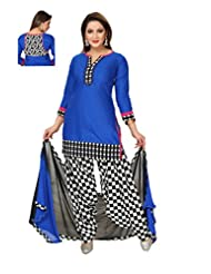 Ritu Creation Women's New Cotton Stitched Patyala Suit With Fancy Printed Patyala(Blue)