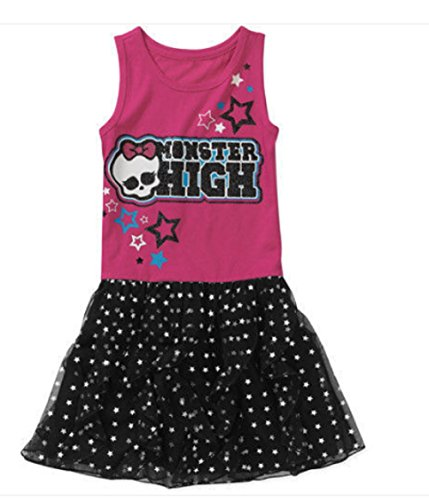 Monster High Skull Girls Glittering Stars Sleeveless Tulle Dress Med