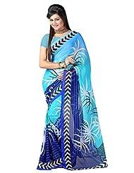 Kanchan Textiles Faux Georgette Printed Saree(KTDM102_Sky_Blue)