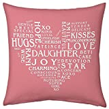Gift for Daughter Pink 12x12 Filled Cushion Birthday Everyday Gift Daughter's Day
