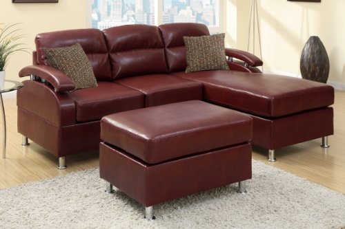 Bon Poundex F7686 Ultra Sleek 3PC Reversible Smooth Burgundy Leather Finish  With Chrome Legs And Matching Ottoman