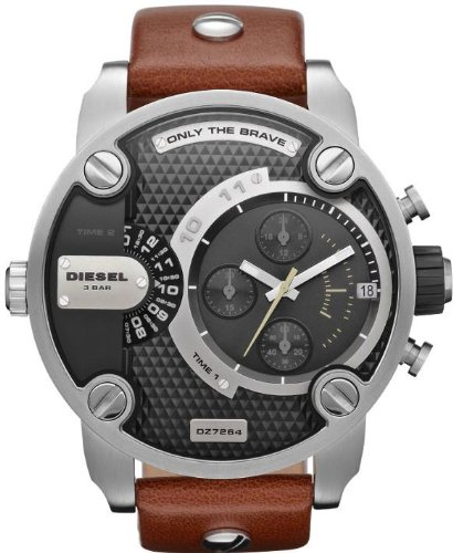 Diesel SBA Dual Time Chronograph Stainless Steel Mens Watch DZ7264