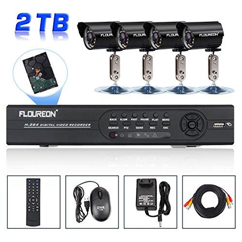FLOUREON CCTV System Set 8 Kanal 8CH Full D1 HDMI DVR + 4 Outdoor Videoüberwachung Kamera Überwachungskamera + 2T Festplatte