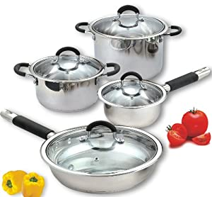 Cook N Home 8 Piece Stainless Cookware Set Encapsulated Bottom by Cook N Home