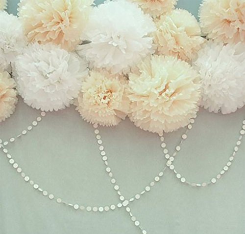 Furuix 8pcs White Mixed Cream Tissue Paper Pom Pom Paper Flower Pom for Baby Shower Wedding Birthday Celebration Table Wall Decoration