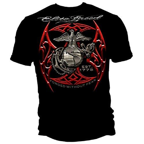 Greucy-darkMarine Corps, USMC T-Shirt Elite Breed USMC Red Blades Silver Foil Black