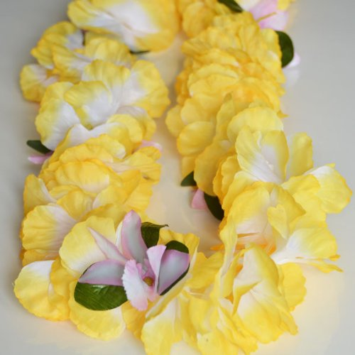 Premium Hawaiian Lei - Paradise Petunia w/ Orchids in Pineapple Yellow