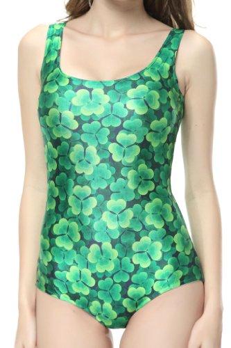Ndb Green Leaf Print One Piece Swimsuit Swimwear Bath Clothing