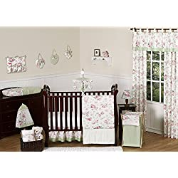 Sweet Jojo Designs Riley's Roses Pink and Sage Green Shabby Chic Floral Baby Girl Flower Bedding 11pc Crib Set without bumper