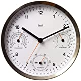 Bai Brushed Stainless Steel Weather Station Wall Clock, White