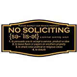 No Soliciting Sign with Annunciation and Definition