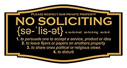 No Soliciting Sign with Annunciation and Definition (3\