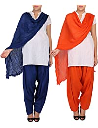 Womens Cottage Women's Combo Pack Of 2 Pure Solid Cotton Semi Patiala Salwar & Cotton Dupatta Stole With Lace - B01C46XPR2