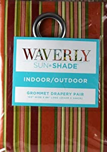 "Waverly Sun N Shade Indoor Outdoor Getaway Stripe Citrus Grommet Drapery Curtain Pair 100"" x 96"""