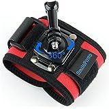 SmilePowo 360 Degree Rotatable Lock Button Elastic Velcro Wrist Strap Mount For GoPro - Red