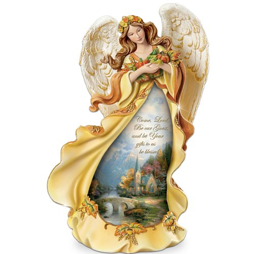 Thomas Kinkade Angel Of Grace Thanksgiving Figurine by The Bradford Exchange