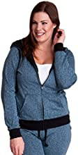 Steel Blue Ladies Plus Size Textured Knit Print Front Zipper Pocket Hoodie