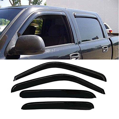 Mifeier 4pc Sun/Rain Guard Vent Shade Window Visor For Chevy/GMC/Cadillac Crew Cab (With 4 Full Size Doors) PU/SUV Wind Deflector (Vent Visors Chevy compare prices)