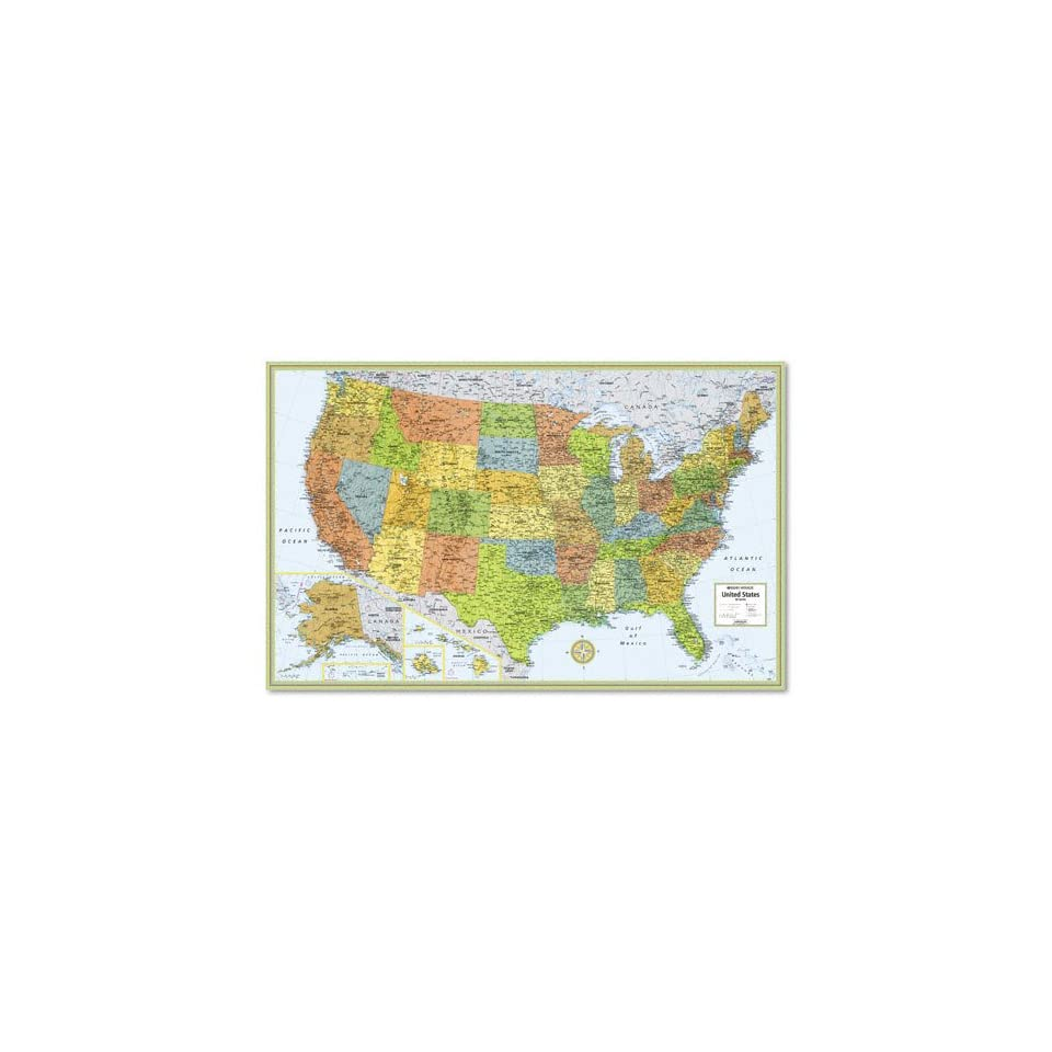Laminated United States Map.Avtrm528960911 M Series Full Color Laminated United States Wall Map