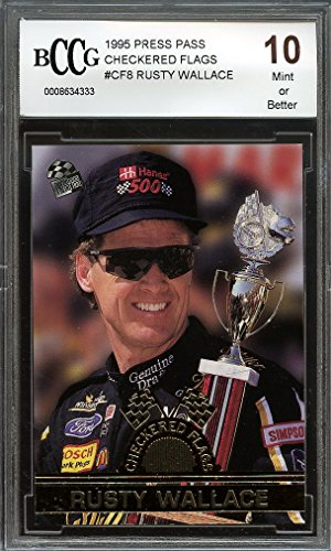 1995 press pass checkered flags #cf8 RUSTY WALLACE BGS BCCG 10 Graded Card