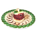Rosh Hashanah Honey Dish - Hand Painted Apple Designed Plate and Bowl, Includes Wooden Dipper