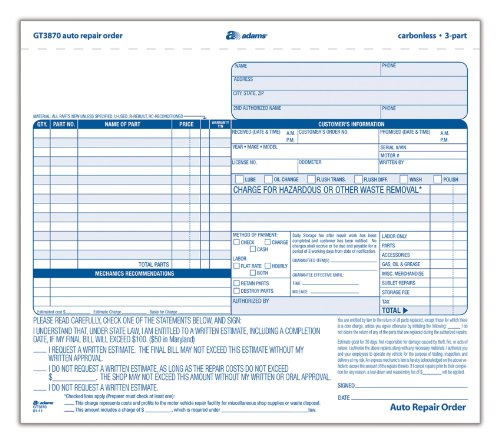Adams Auto Repair Order Forms, 8.5 x 7.44 Inch,