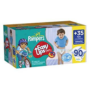 Pampers Easy Ups Trainers, Value Pack, Boy, Size 5 S3T/4T, 90 Count