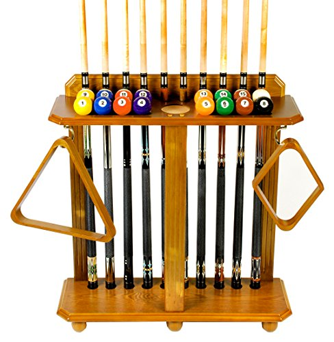 Find Bargain Iszy Billiards 10 Pool Cue Billiard Stick Floor Rack and Holder, Oak