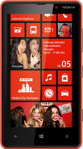 Nokia Lumia 820 Smartphone (10,9 cm (4,3 Zoll) ClearBlack OLED WVGA Touchscreen, 8 Megapixel Kamera, 1,5 GHz Dual-Core-Prozessor, NFC, LTE-fähig, Windows Phone 8) gloss red