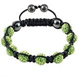 Crystal/Hematite Disco Ball Friendship Bracelets By The Jewels [Green with Black String] Picture
