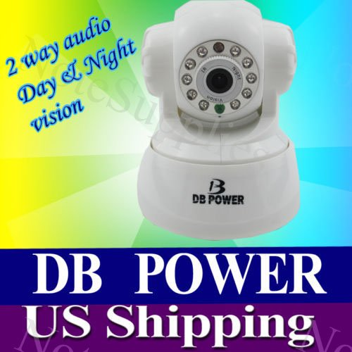 Original Db Power Wireless Ip Camera with Pan & Tilt, Day & Night Vision, 2 Way Audio, Motion Security Wifi Remote Control, Color - White