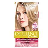 L'Oreal Paris Excellence Hair Colour Kit, Natural Light Ash Blonde Number 9.1 - Pack of 3