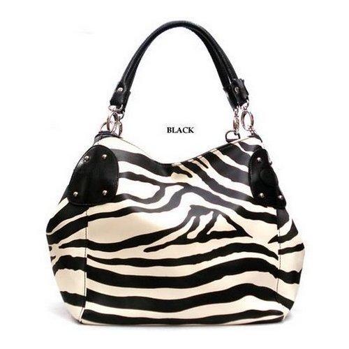 Black Large Zebra Print Faux Leather Satchel Bag Handbag