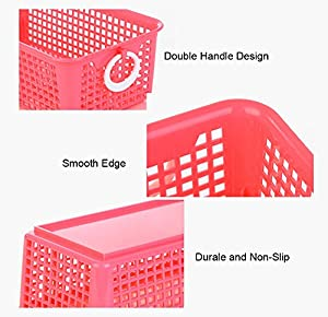 Honla Perforated Plastic Storage Baskets with Double White Round Ring Handles-Set of 3-Decorative Office Desktop/Desk Organizer Trays,Kitchen Cabinet Drawer Dividers Containers Bins-Red,Blue,Green