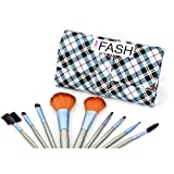 FASH UK 2011 Series Cosmetic Brush Set with Leather Pouch, Nylon, 9-Piece