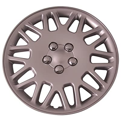 Set of 4 Silver 16 Inch Aftermarket Replacement Hubcaps with Metal Clip Retention System - Part Number: IWC406/16S