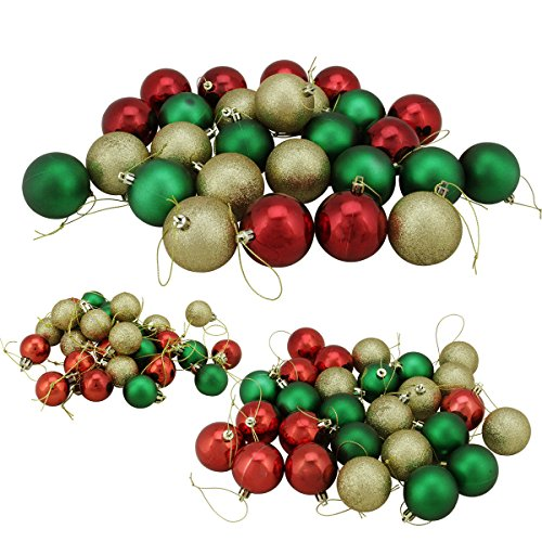 81ct Green, Red and Gold 3-Finish Shatterproof Ball Christmas Ornaments 1.25″ – 2.25″
