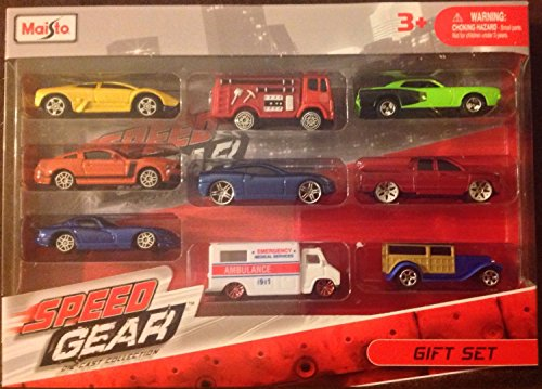 Maisto die cast gift set includes 9 different vehicles.