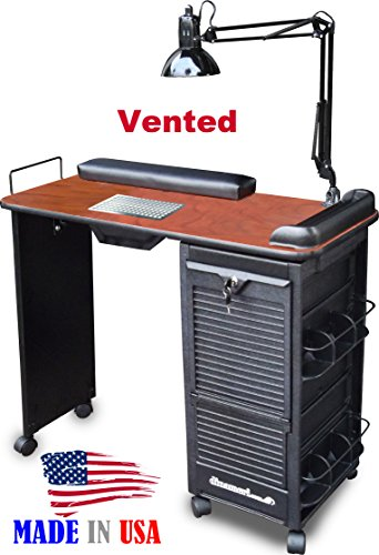 B605 VENTED Manicure Nail Table Lockable w/Cherry Lam. Top By Dina Meri (Dina Meri Manicure Vented Table compare prices)
