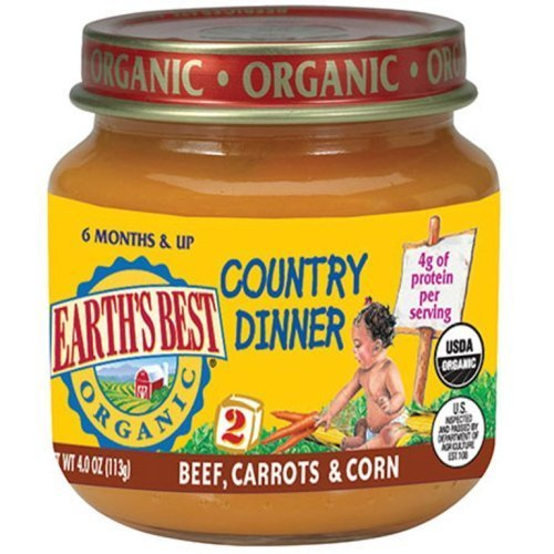 Earth's Best Organic Country Dinner, 2nd Beef Carrots and Corn, 4 Ounce Jars (Pack of 12)