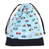 お着替えラクラク巾着(大サイズ)・体操服袋 アクセル全開はたらく車(ライトブルー) × オックス・紺 日本製 N3369500