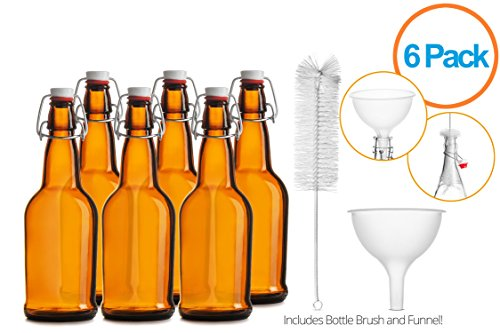 Chef's Star CASE OF 6 - 16 oz. EASY CAP Beer Bottles with Funnel and Cleaning Brush - AMBER (Chef Bottles With Caps compare prices)
