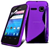 Fone-Case Alcatel One Touch S'Pop Protective Hydro S-line Wave Gel Skin Case Cover Pouch With LCD Screen Protection Guard (Purple)