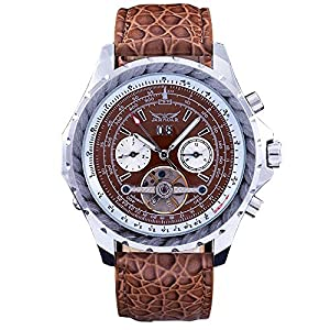 WINNER Men Mechanical Wrist Watch Leather Strap Brown Leopard Pattern Tourbillion Date Display Sub Dial