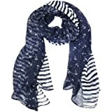 """Wrapables® Stripes and Anchor Nautical Marine Scarf 72"""" x 42"""""""