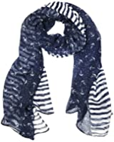 "Wrapables® Stripes and Anchor Nautical Marine Scarf 72"" x 42"""