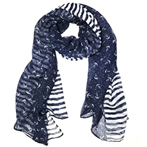 Wrapables Stripes and Anchor Nautical Marine Scarf 72