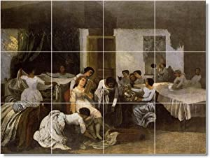 Gustave Courbet People Ceramic Tile Mural 14. 36x48 Inches Using (12) 12x12 ceramic tiles.
